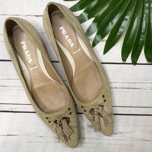 {Prada} sz 37.5 classic tassel pointed toe flats